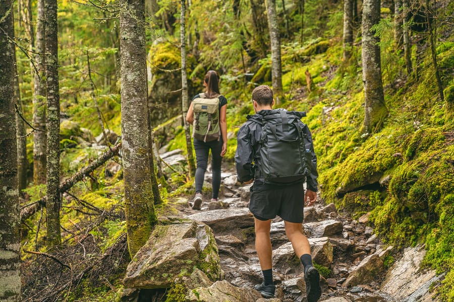 Backpacking to a camping site