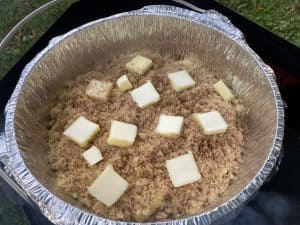 dutch oven apple cobbler ready to start baking